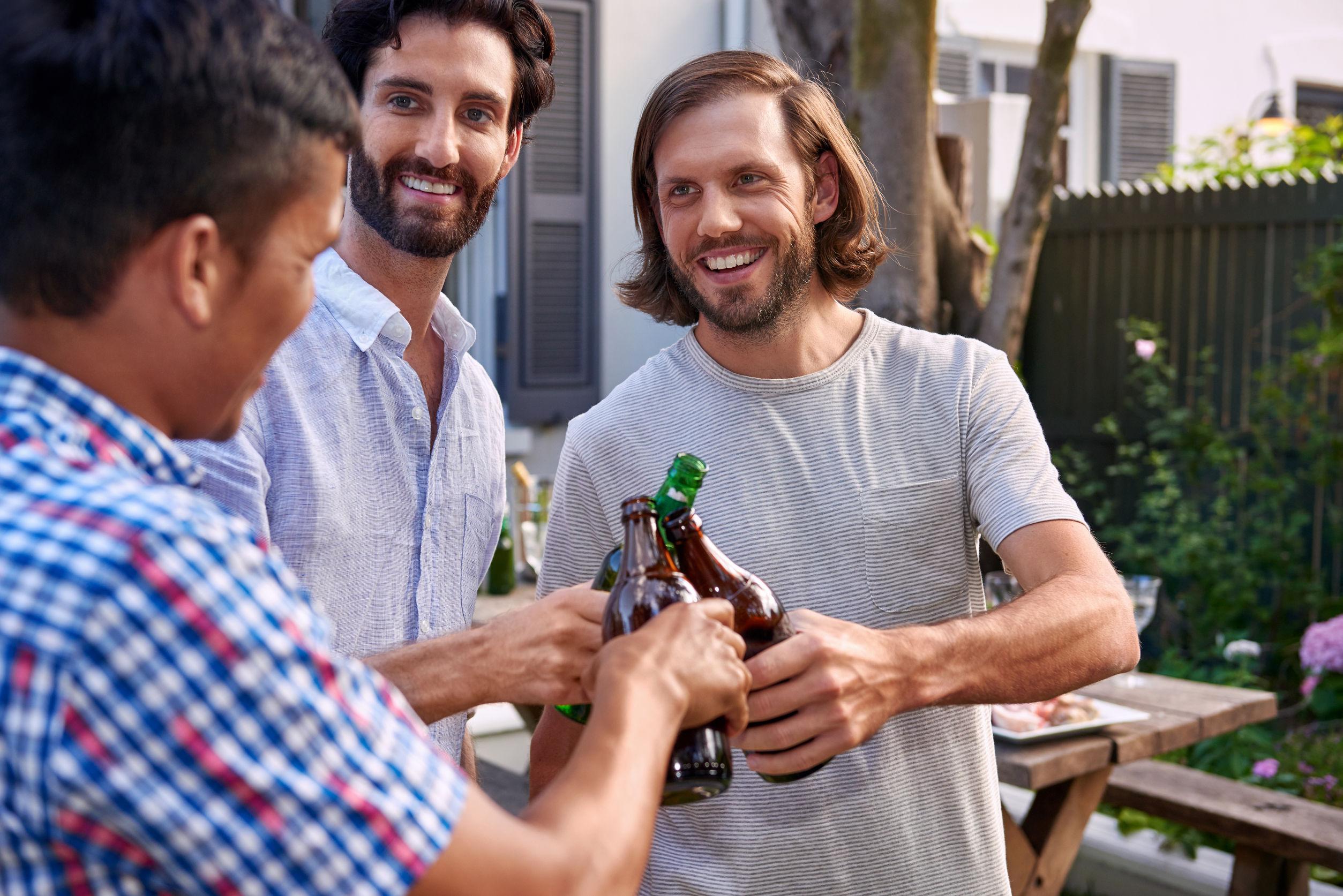 Manly men laughing at manly jokes.